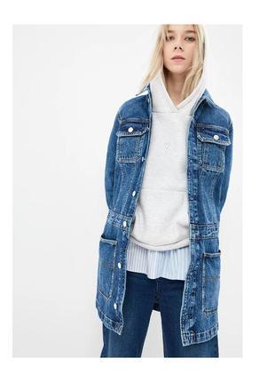 Удлиненный джинсовый пиджак куртка размер 38 eoote