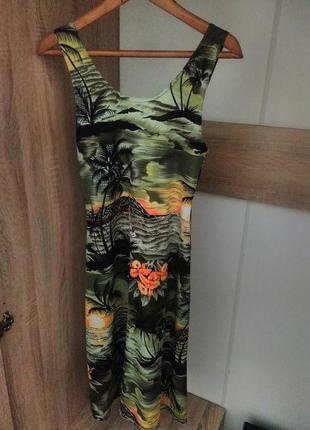 Платье тропический принт миди пальмы море лето nisko