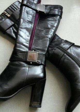 Элегантные итальянские сапоги кожа италия тренд деми с втавкой