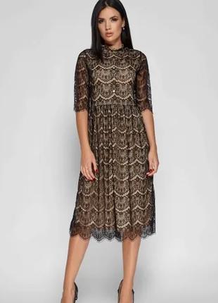 Платье кружево миди на пуговках черное пышное нарядное
