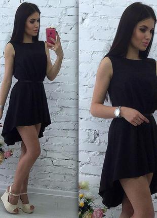 Асимметричное платье черное летнее сарафан шифон