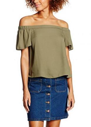 Блузка футболка открыты плечи хаки new look