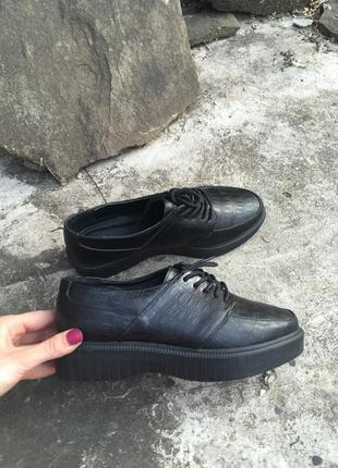 Броги туфли на шнуровке платформе asos под рептилию