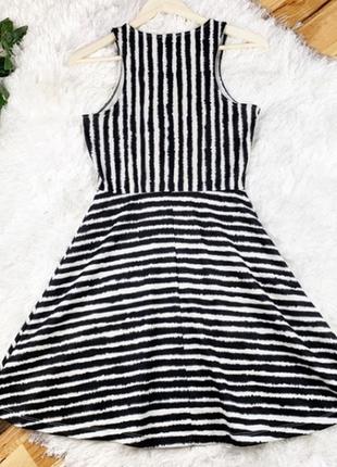 Платье полоска в полоску h&m клеш сарафан