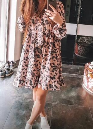 Платье леопарт принт вырез бант легкое клеш