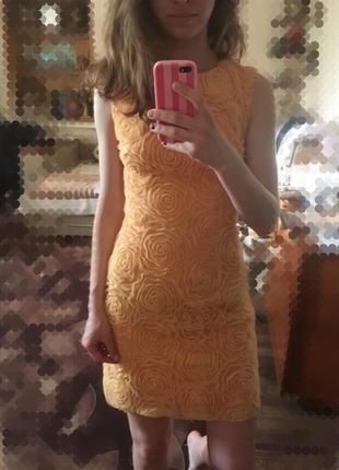 Платье с открытой спиной оранжевое вырез кружево andrea