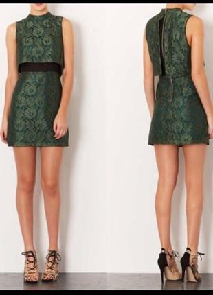 Topshop платье зеленое кружево гипюр гольф кружевное нарядное