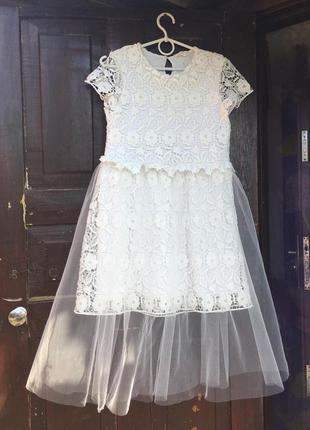 Zara платье кружевное белое фатин кружево миди сетка