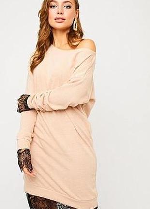 Платье ангора кружево свободное оригинальное теплое