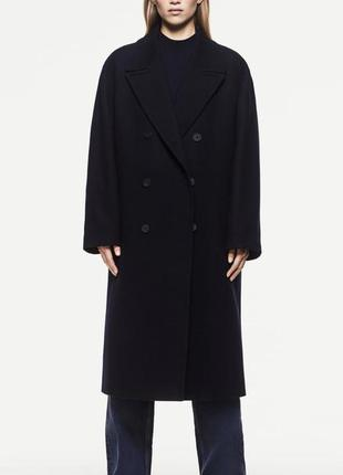 Zara пальто свободного кроя двубортное 70% шерсть 10% кашемир