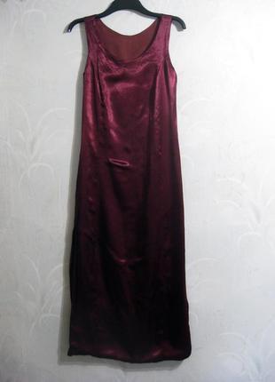 Длинное платье бордовое масала бургунди ткань как шёлк атлас с...