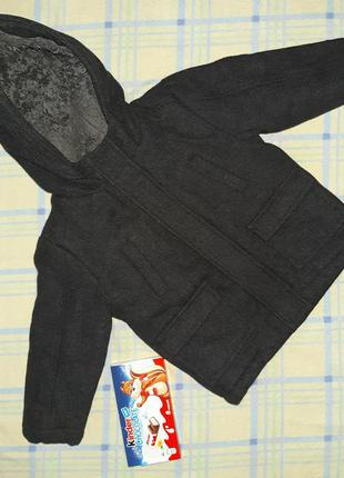 Тёмно-серое пальто парка внутри на меху с капюшоном