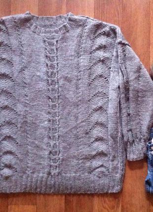Серый классный джемпер (свитер)