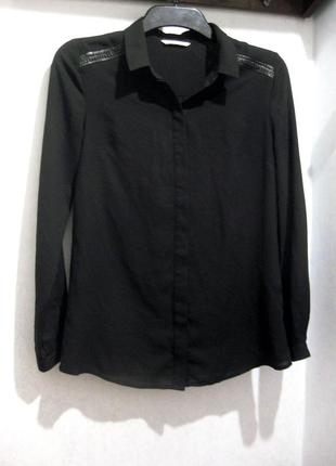 Рубашка camaieu чёрная длинный рукав с кожаной отделкой