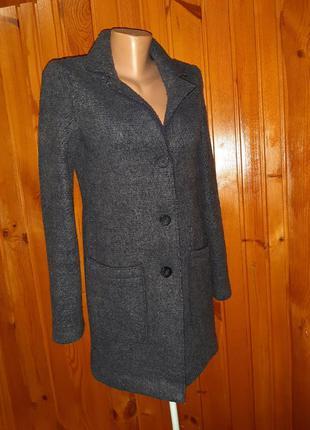 Тёмно-синее пальто кардиган без подкладки