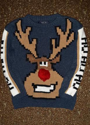 Синий новогодний рождественский свитер с оленем нос помпон