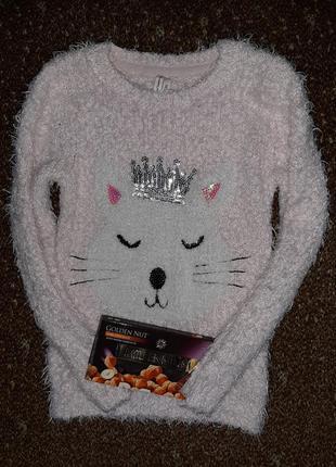 Нежно-розовый свитер травка с кошечкой в короне, украшеной...