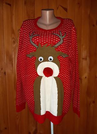 Красный рождественский свитер с оленем нос помпоном и двигающими