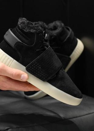 Женские❄️adidas tubular invider black❄️зимние чёрные кроссовки...