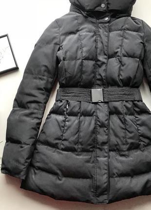Базовый чёрный пуховик /чёрная зимняя куртка пуховик натуральн...