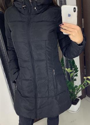 Зимний чёрный пуховик zara натуральный пух / зимняя куртка zara