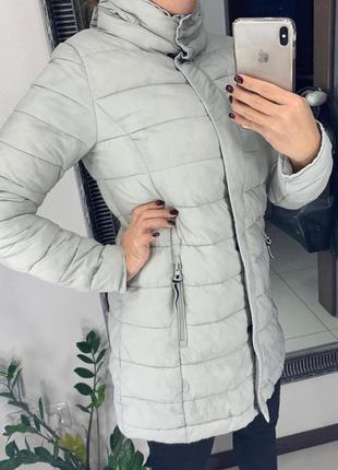🧥красивый серый пуховик/тёплый зимний пуховик/куртка дутик на ...