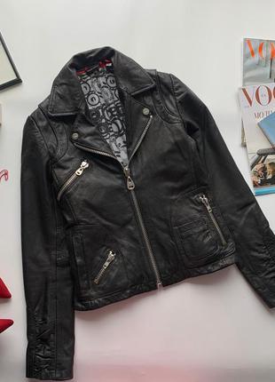 🧥офигенная чёрная куртка косуха натуральная кожа/кожаная куртк...