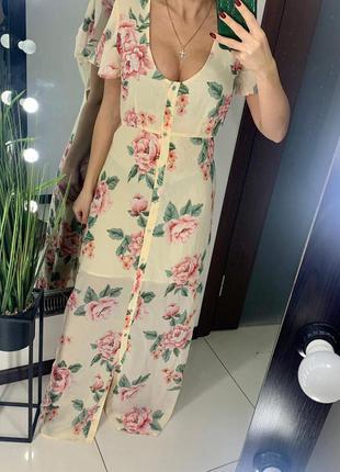 👗бежевое длинное платье с цветами вырез на спине/нюдовое плать...