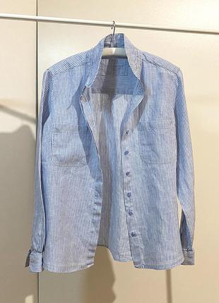 Льняная голубая рубашка с длинным рукавом лен marks & spencer
