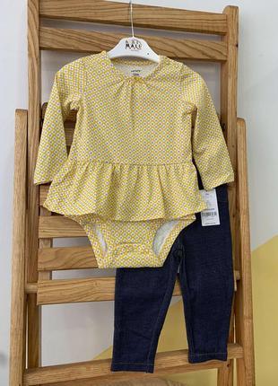 Комплект для дівчинки картерс carters (блузка- бодік та лосіни)