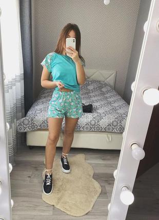 Новая мятная пижама с котами и пиццей шорты футболка