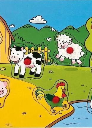 Деревянный звуковой пазл-вкладыш с ручками животные фермы play...