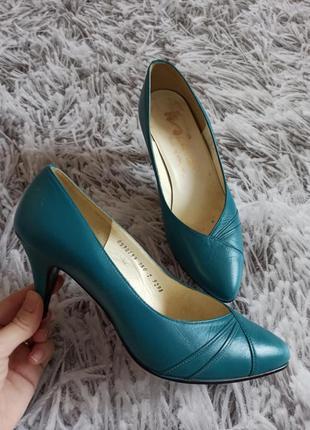 Туфли кожаные венгрия, женские туфли кожаные цвет морской волн...
