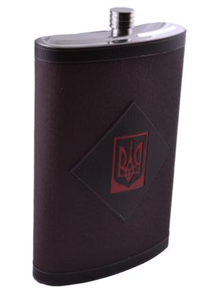 Фляга из пищевой нержавеющей стали обтянута кожей Украина TD158