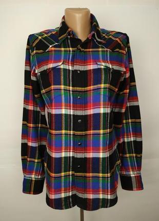 Блуза рубашка стильная в клетку хлопковая оригинал ralph laure...