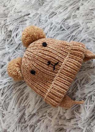 Детская шапка мишка, детская шапка next утепленная 1-2 года