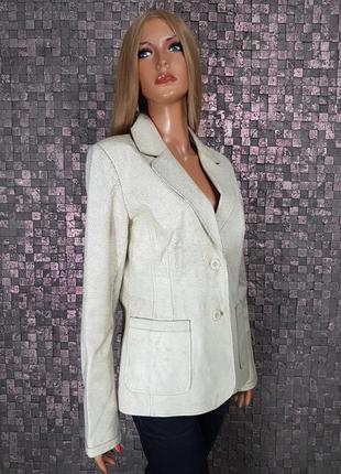 Куртка / жакет /пиджак /100% нат.кожа / молочная с эффектом тр...
