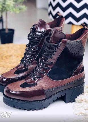 Стильные зимние ботинки на низком каблуке, высокие ботинки на ...
