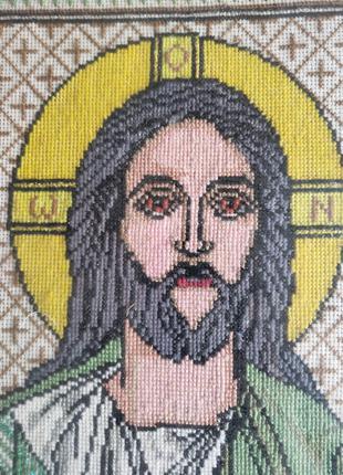 2 Вышивка ручная крестиком Икона вишивка ІС ХС Иисус Христос