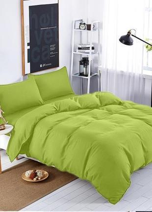 Подростковый комплект постельного белья Сатин Премиум салатовый