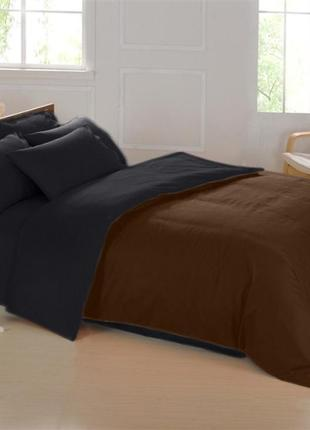 Подростковый комплект постельного Сатин Премиум коричневый + ч...