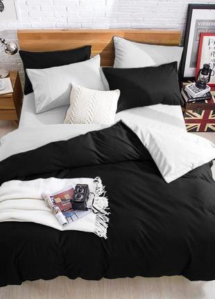 Подростковый комплект постельного белья Сатин Премиум черный +...