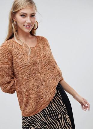 Карамельный шенилловый свитер оверсайз asos stradivarius велюр...