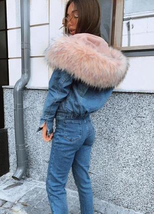 Джинсовая куртка с мехом oversize