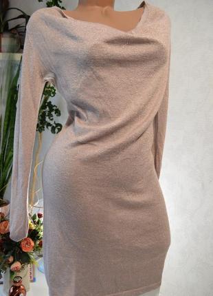 Платье коктейльное беж, нежное и красивое