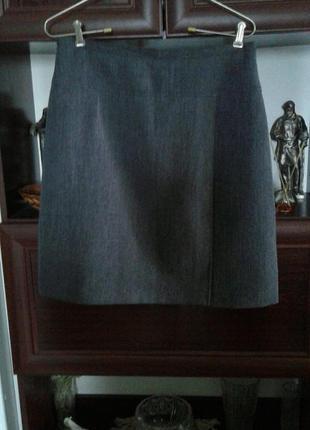 Юбка-трапеция из костюмной ткани серая affinites armand thiery...