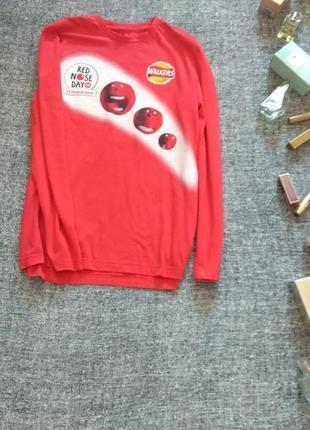 Прикольная красная футболка с длинным рукавом/размер m