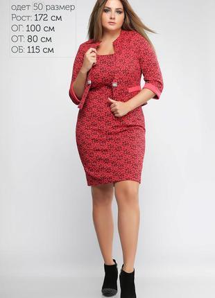 Стильный женский костюм (платье+жакет) Красный Батал (р.50,52,54)