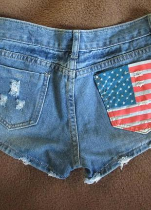 Джинсовые шорты c флагом usa
