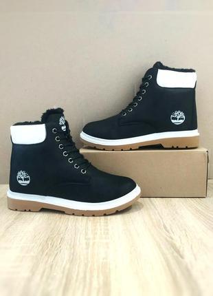 Ботинки чёрные высокие зимние теплые эко кожа